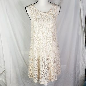 Free people nude floral lace overdress sleeveless